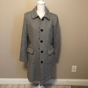 Moda International black/cream pattern coat, sz 10